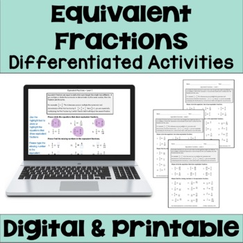 Equivalent Fractions Worksheets (3 Levels)