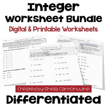 Integer Worksheet BUNDLE (3 Levels)