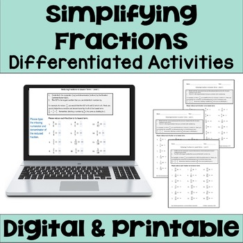 Reducing Fractions to Lowest Terms Worksheets (3 Levels)