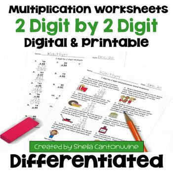 Multiplication Worksheets: 2 Digit by 2 Digit (3 Levels PL