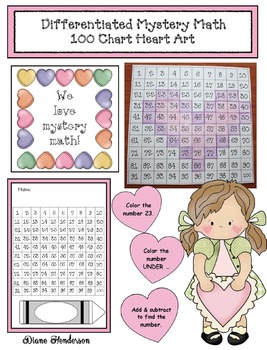 Differentiated Mystery Math: 100 Chart Heart Art
