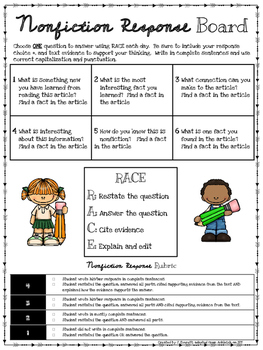 Differentiated Nonfiction Response Board