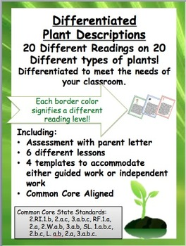 Plant Unit Differentiated- 20 Plant Readings - Common Core