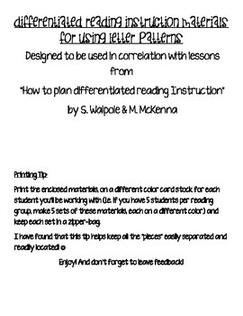 Differentiated Reading Instruction Materials- Letter Patterns
