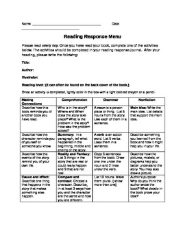Differentiated Reading Menu for Independent Reading or Center