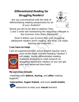 Differentiated Reading for Struggling Readers!