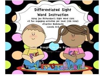 Differentiated Sight Word Activities A-G using Jan Richard
