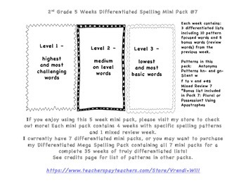 Differentiated Spelling, antonyms, kn-, gn-, silent w, f t