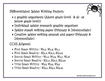 Differentiated Spider Writing Project (CCSS aligned)