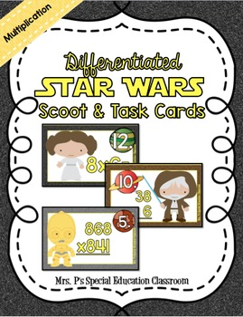 Differentiated Star Wars Multiplication Math Scoot & Task Cards