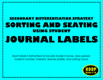 Differentiated Student Journal Labels