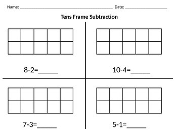 Differentiated Tens Frame Subtraction
