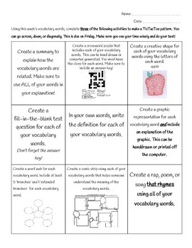 Differentiated Vocabulary Homework