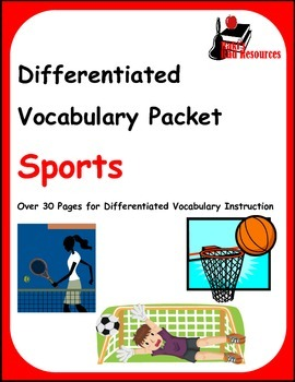 Differentiated Vocabulary Packet for  ESL students - Sports