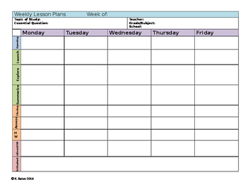 Secondary Differentiated Weekly Lesson Plan Template with