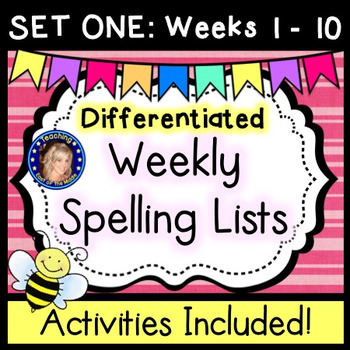 Weekly Spelling Lists - Differentiated