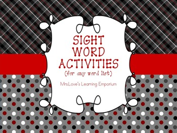 Differentiated Word Work Activities (for any word list) w/