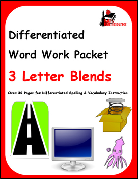 Differentiated Word Work & Vocabulary Packet - 3 Letter Blends