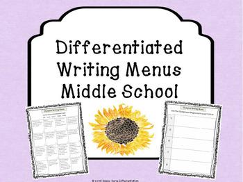 Differentiated Writing Menus Grades 5-6