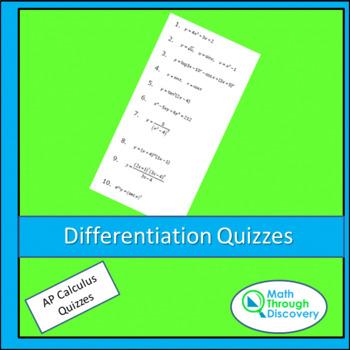 Calculus:  Differentiation Quizzes