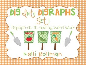 Dig into Digraphs Set 1 {digraphs sh,th, ng} Word Work