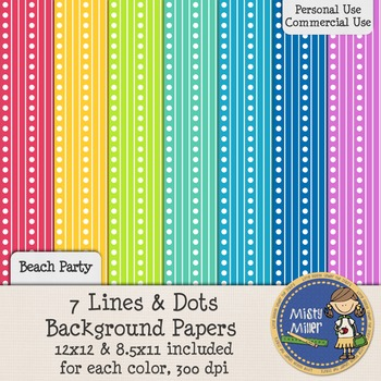 Digital Background Papers - Lines and Dots Beach Party