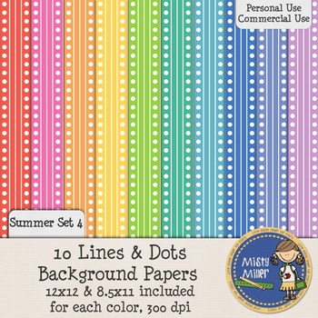 Digital Background Papers - Lines and Dots Summer 4