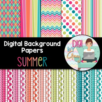 Digital Background - Scrapbook Pack - Summer