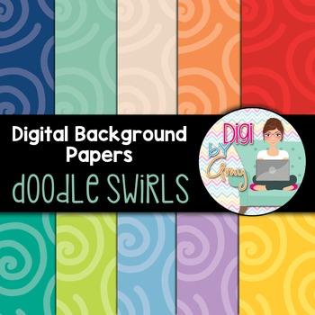 Digital Background clipart - Scrapbook Pack - Doodle Swirls