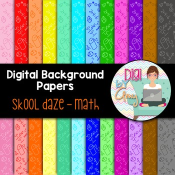 Digital Background clipart - Scrapbook Pack - Skool Daze - Math