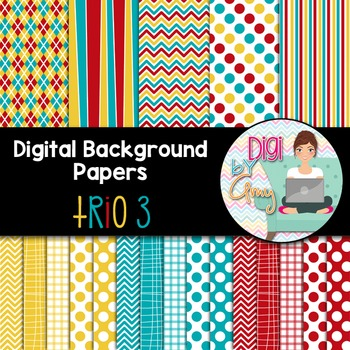 Digital Background - Scrapbook Pack - Trio 3