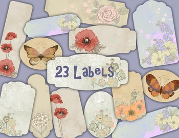 Butterfly and Flowers Label Tag Vintage Flower Frame Clip