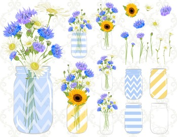 Digital Blue Flower Mason Jar Clip Art Blue Yellow Flower
