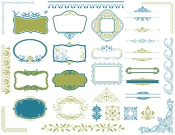Digital Border Frame Ornate Clip Art Flourish Swirl Decora
