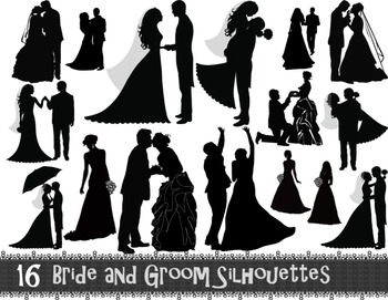 Digital Bride and Groom Silhouette Clip Art Wedding ClipArt