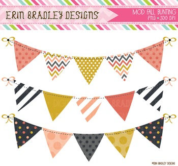 Digital Bunting Graphics - Mod Fall Clipart