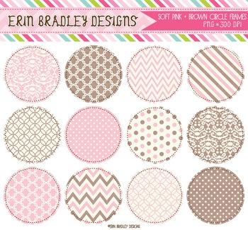 Digital Circle Frames Clipart - Pink & Brown