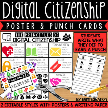 Digital Citizenship Punch Cards - Editable
