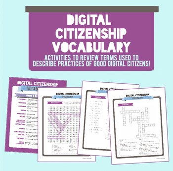 Digital Citizenship Vocabulary Activity Packet
