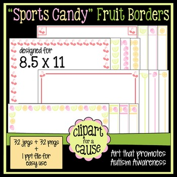 Digital Clip Art Frames: 32 'Sports Candy' Fruit Borders -