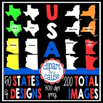 Digital Clip Art:50 United States Graphics-4 Designs-Color