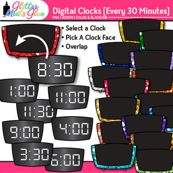 Digital Clock Clip Art Every 30 Minutes {Measurement Tools