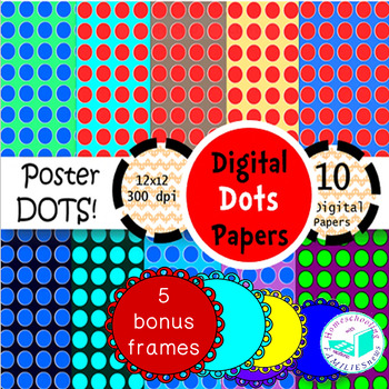 Digital Dots Paper 1- plus bonus 5 scallop frames