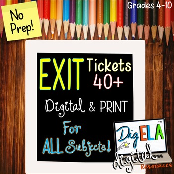 Exit /Entrance Tickets DIGITAL for Any Subject DigELA