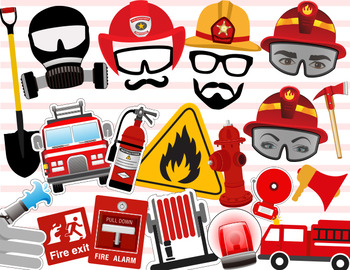 Digital Firefighter Photo Booth Props Printable Firefighte