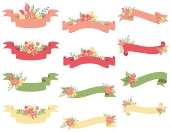 Digital Floral Banners Clip Art Digital Wedding Floral Pin