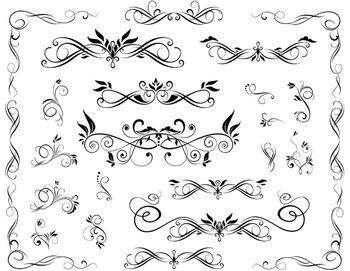 Digital Flourish Swirl Border Frame Clip Art Border Frame