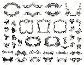 Digital Flourish Swirl Frame Decor Clip Art Swirl Frame Clip Art