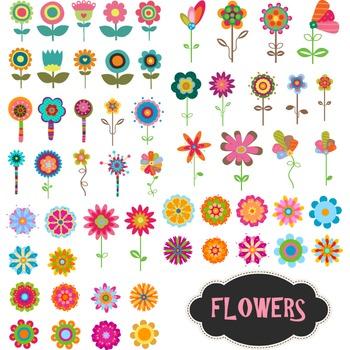 Digital Flower Clip Art Flower Collection Colorful Flower Clipart