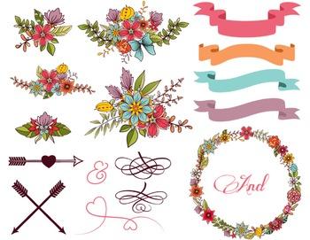 Digital Flower Wreath Floral Frame Arrow Clip Art Ribbon Banner